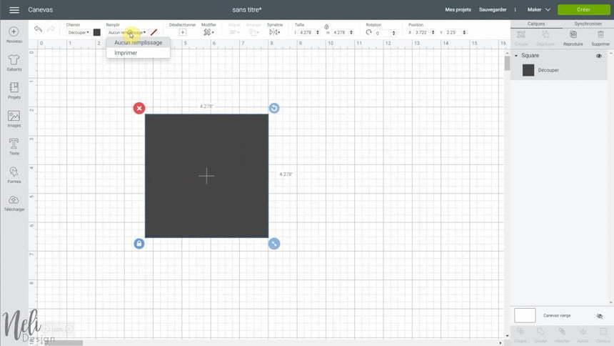Image de Cricut Design Space avec l'outil Remplir