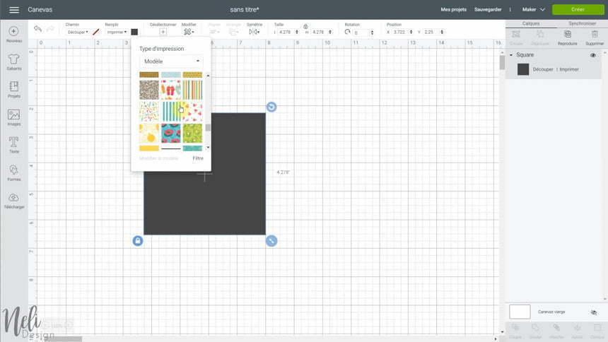 Image de Cricut Design Space avec l'outil Remplissage