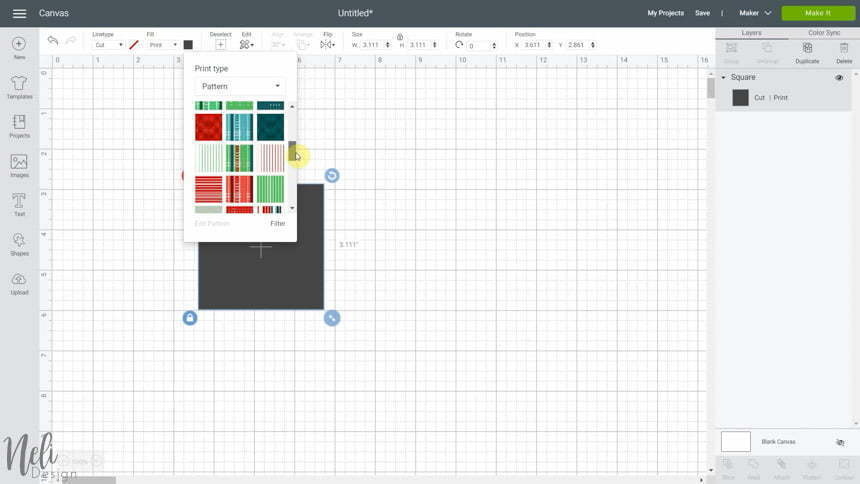 View of Cricut Design Space with the pattern fill feature