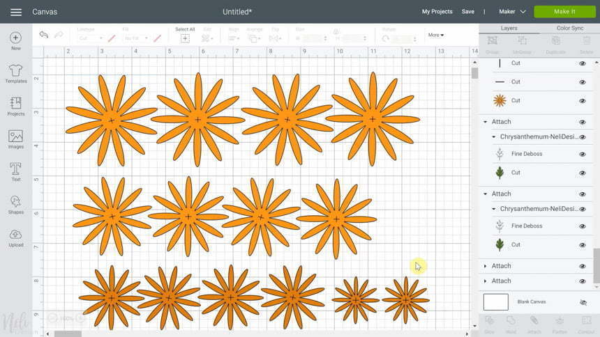 Cricut Design Space 2 shades of petals in the SVG for DIY Chrysanthemum paper flowers