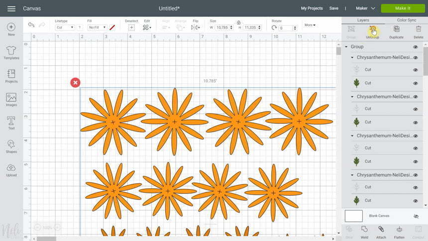 Cricut Design Space ungroup SVG for DIY Chrysanthemum paper flowers