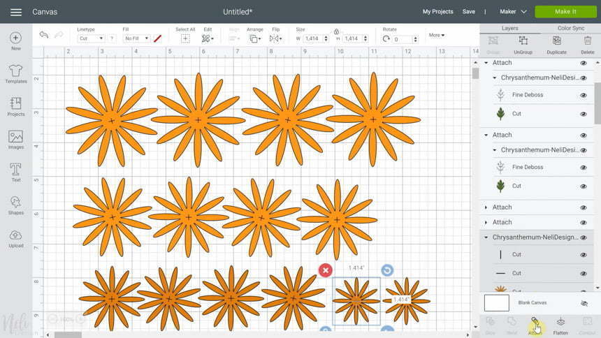 Cricut Design Space attach layers for DIY Chrysanthemum paper flowers