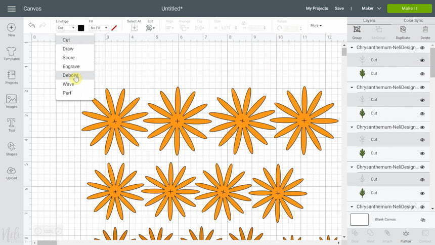 Cricut Design Space changing to Deboss in the SVG for DIY Chrysanthemum paper flowers