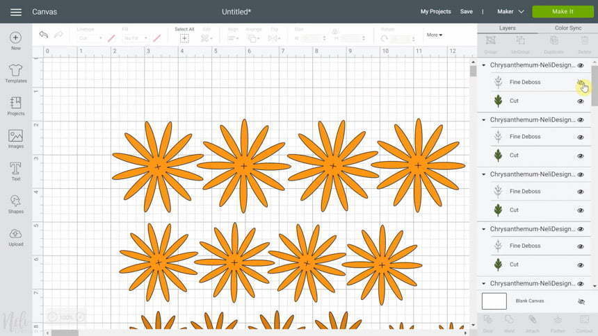 Cricut Design Space close the eye of the layer for the SVG for DIY Chrysanthemum paper flowers
