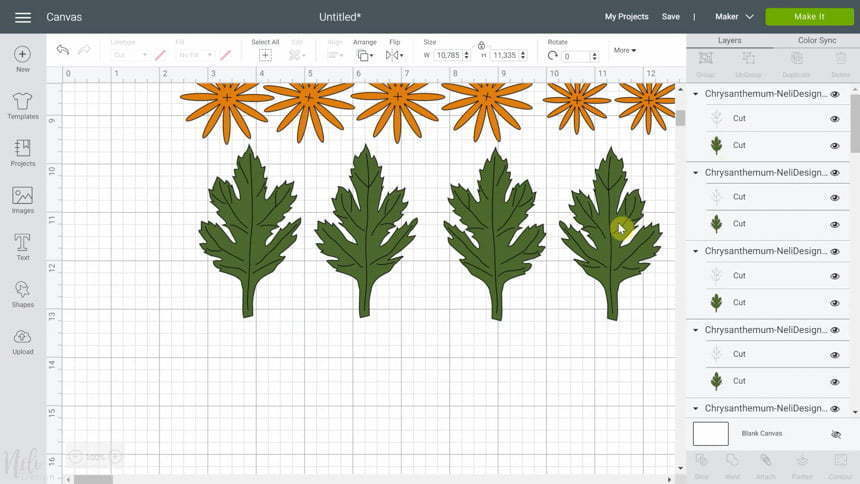 Cricut Design Space line in leaves in the SVG for DIY Chrysanthemum paper flowers