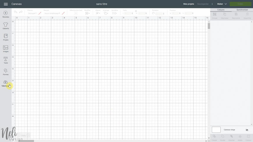 importer un SVG pour faire un cadre avec tissus dans Cricut Design Space