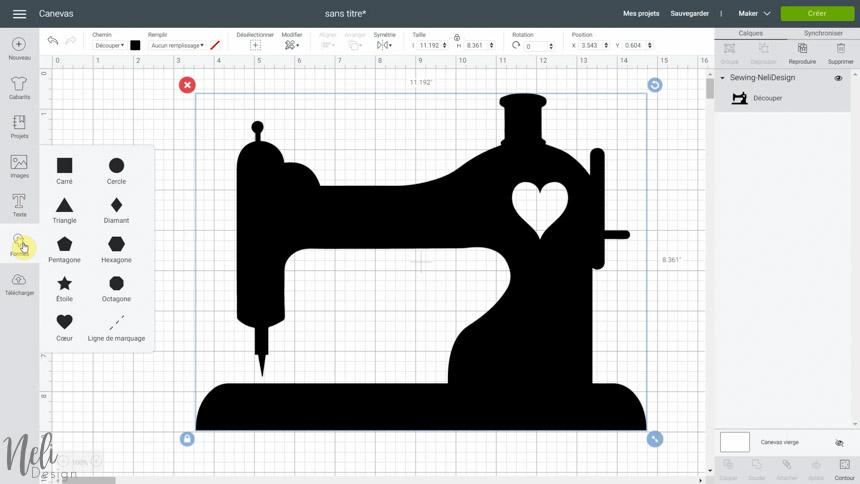 Utiliser le SVG gratuit pour faire un cadre avec tissus dans Cricut Design Space