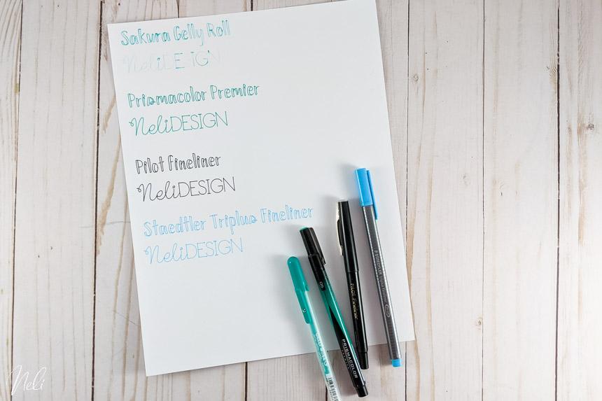 Test d'écriture avec plusieurs autres stylos et feutres avec adaptateurs pour la Cricut