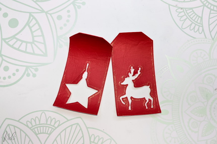 2 Christmas labels made with Foil tip on faux leather