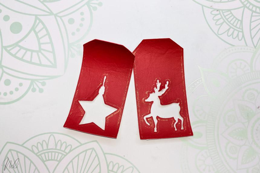 2 étiquettes de Noël fait avec la pointe Foil sur du simili cuir