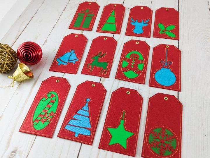 12 étiquettes de Noël fabriquée avec la pointe Foil de Cricut