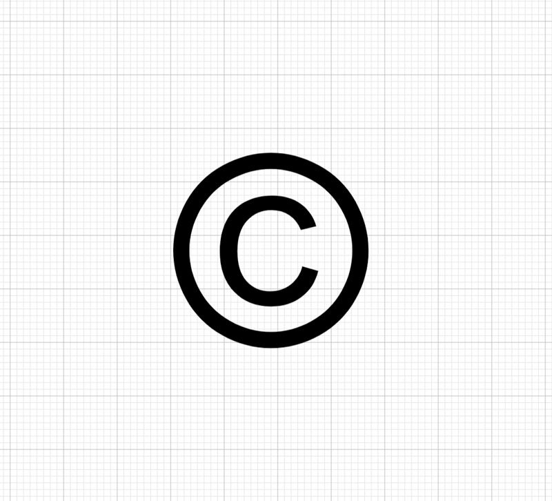 sigle du copyright sur fond de Cricut Design Space
