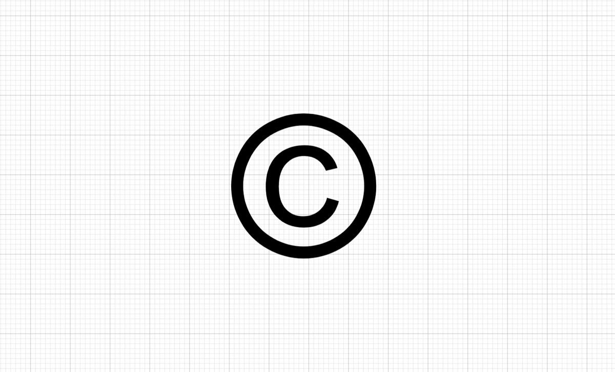 sigle du copyright sur fond de Cricut Design Space